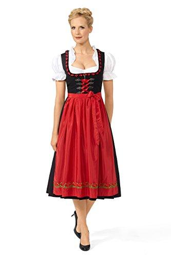 Original Steindl München-Salzburg Dirndl 3/4 lang-2tlg. Damen schwarz/rot-44