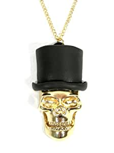 Amazon Com Top Hat Skull Necklace Gold Tone Bones