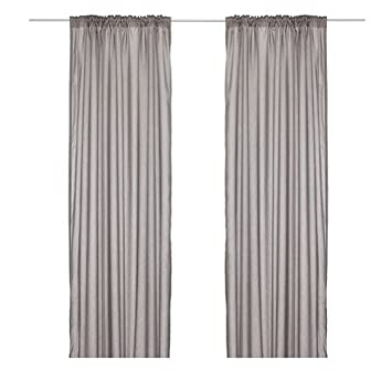 ikea thin curtains 1 pair gray