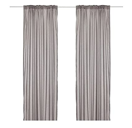 Buy Ikea Thin Curtains, 1 Pair, Gray by Ikea Online at Low