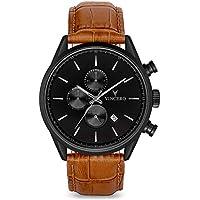 Vincero Luxury Men's Chrono S Wrist Watch - Top Grain Italian Leather Watch Band - 43mm Chronograph Watch - Japanese Quartz Movement (Matte Black/Tan)