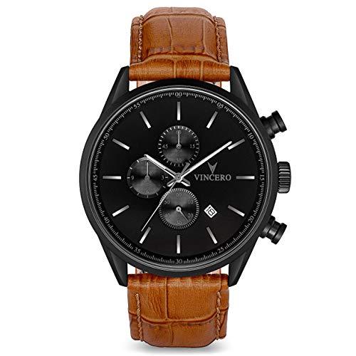 - Vincero Luxury Men's Chrono S Wrist Watch - Top Grain Italian Leather Watch Band - 43mm Chronograph Watch - Japanese Quartz Movement (Matte Black/Tan)