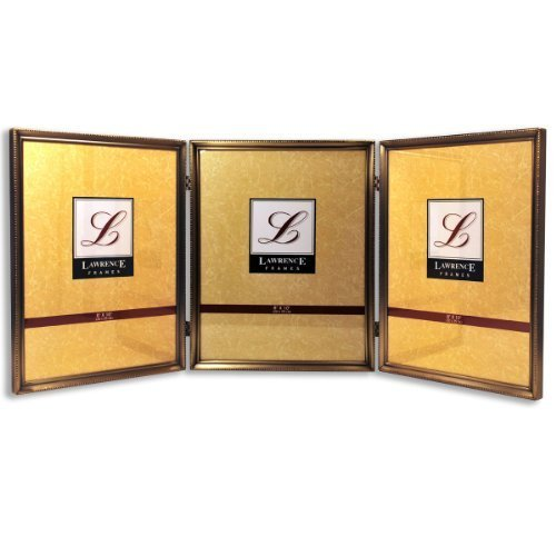 Lawrence Frames 11480T Antique Gold Bead Hinged Triple Picture Frame, 8 by 10-Inch