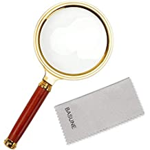 10X Handheld Magnifier, Reading Magnifier Loupe Glasses 10X with Rosewood Handle for Book and Newspaper Reading, Insect and Hobby Observation, Classroom Science (Round Lens Frame Diameter: 80mm)