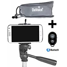 Cell Phone Tripod Adapter - Bluetooth Remote Control - Travel Bag - iPhone Tripod Mount SE 7 6S 6 Plus 5S 5C 5 4s 4, Galaxy S7 S6 S5 S4 S3 more Cell Phone Tripod Mount Clip Holder - DaVoice (Black)