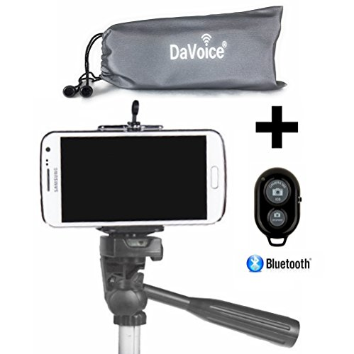 Cell Phone Tripod Adapter - Bluetooth Remote Control - Travel Bag - iPhone Tripod Mount 8 7 X SE 6S 6 Plus 5S 5C 5 4s 4, Galaxy S8 S7 S6 S5 S4 Cell Phone Tripod Mount Clip Holder - DaVoice (Black)