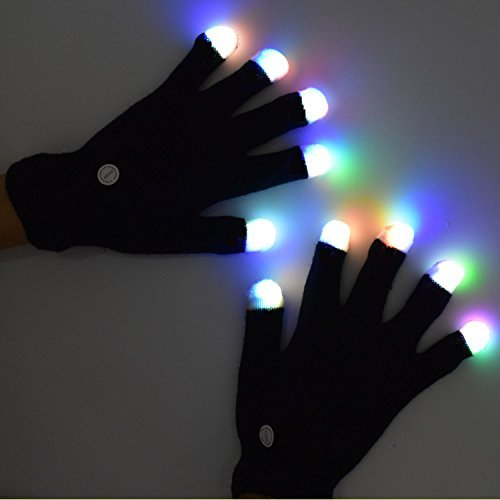 LED Flashing Glow Rave Gloves, Light-up Toys with Lights 3 Colorful 7 Modes Fits Women, Men & Kids for Halloween Christmas Light Show Performances Clubbing Raves Disco Birthday Party, Fingertip Flash ()