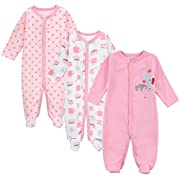 Babe Maps Unisex Baby 3-Pack Snap Front Sleep N Play Footie Pajamas for 3-6 Months