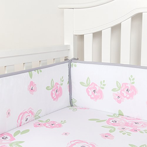 TILLYOU Baby Safe Crib Bumper Pads for Standard Cribs Machine Washable Padded Crib Liner Thick Padding for Nursery Bed 100% Silky Soft Microfiber Polyester Protector de Cuna, 4 Piece/Pink Rose Flower