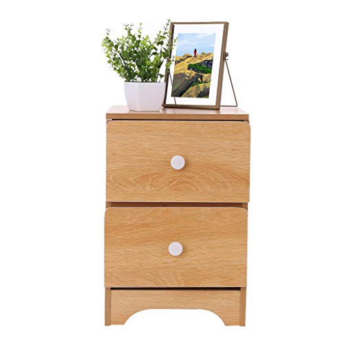 GXOK Assemble Storage Cabinet Bedroom Bedside Locker Double Drawer Nightstand [Ship from USA Directly] (Brown)