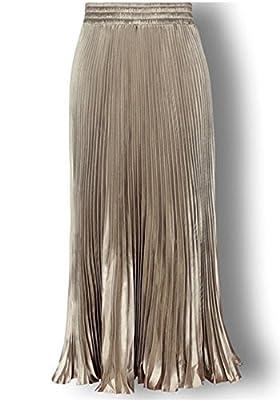 Women's Metallic Luster Pleated Organ Plait Pure Color Vintage Maxi Long Skirt