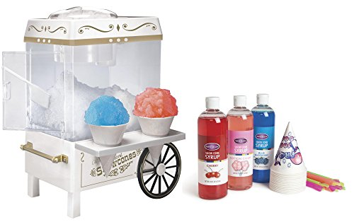 Nostalgia SCM502BUN Snow Cone Maker - Bonus Bundle (Sno Cone Accessories)
