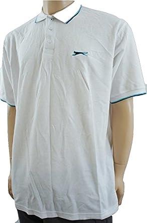 Slazenger - Polo - Básico - para Hombre Blanco White/Turquoise XX ...