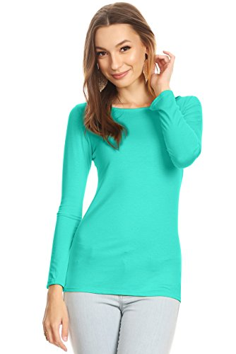 Junior Large Mint - Simlu Mint Long Sleeve T Shirt Womens Mint Fitted Shirt Mint Green Tee Shirt, Large (Juniors),Mint,Large (Juniors)