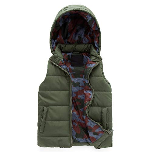 (SNOW DREAMS Boys Hood Puffer Quilted Vest Camo Print Lined Zipper Waistcoat Army Green Size 4)