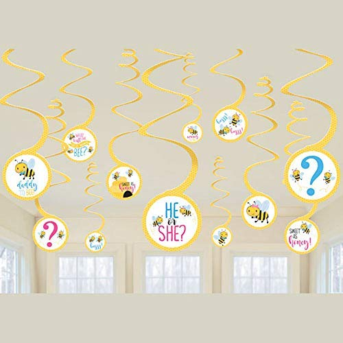 Bee Hanging - Baby Shower 'What Will it Bee?' Hanging Swirl Decorations (12pc)