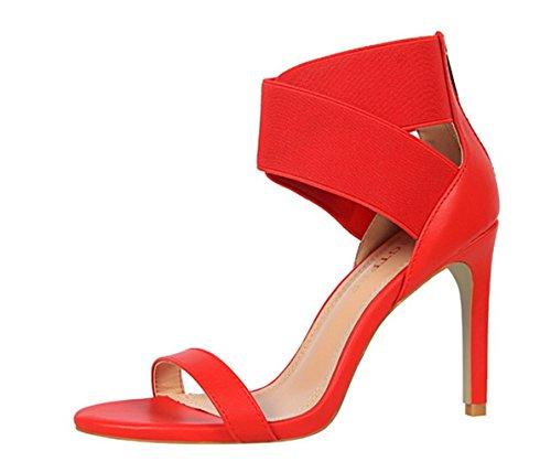 Manyis Mode Sexy Creux Club Talons Hauts Chaussures Élastique Élastique À Bout Ouvert Sandales Stiletto Rouge
