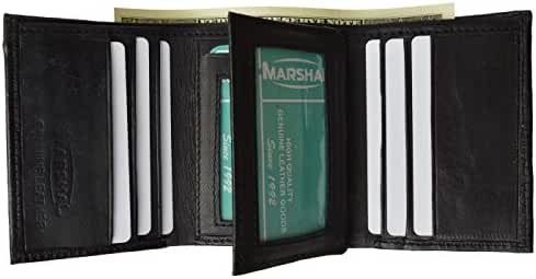 Mens Black Leather Wallet Lamb Classic Trifold by Marshal® wallet