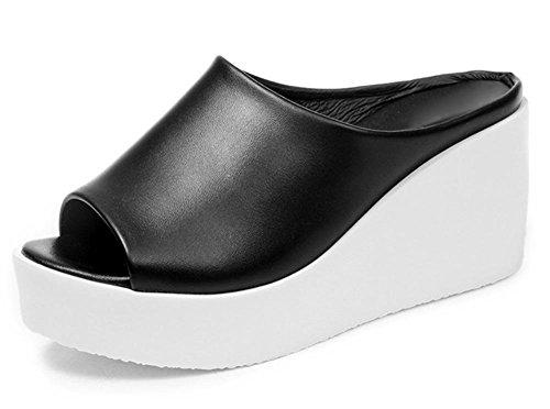 Frau mit schweren Boden Schuhe Casual Sandalen Sommer Sandalen und Pantoffeln Steigung black