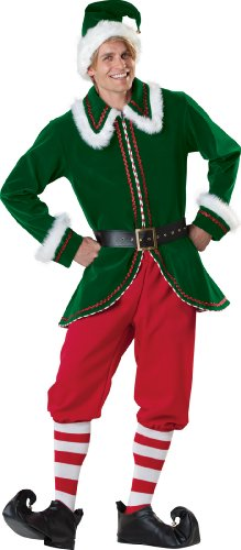 InCharacter Costumes Men's Santa's Elf Costume, Green/Red, Large