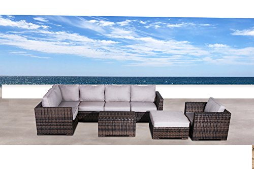 Cabana Collection Outdoor Wicker Patio Furniture Sectional Conversation Sofa Set For Backyard, Porch or Pool | No Assembly Required (8 Piece Sectional Ottoman Set, Brown)