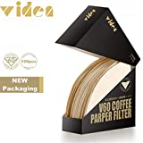 VIDEN Upgraded 100Pcs V60 Coffee Paper Filter Unbleached Disposable Portable Cone Coffee Filter for 2 To 4 Persons