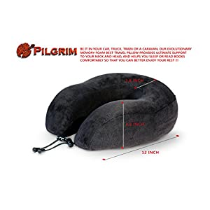 ✈︎ Pilgrim IB ✈︎ Travel Memory Foam Neck Pillow - Enjoy the Luxury of the Best Pillow for Support and Comfortable Sleep During Traveling - Includes Travel Bag