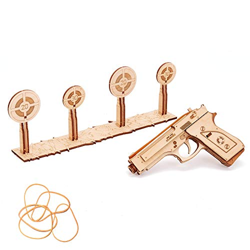Wood Trick Rubber Band Gun Toy Pistol with Targets Shooting Range, Wooden Pistol Toy Guns for Kids Set - M9 Realistic Model - 3D Wooden Puzzle, Assembly Toys, ECO Wooden Toys, Best DIY Toy - STEM Toys
