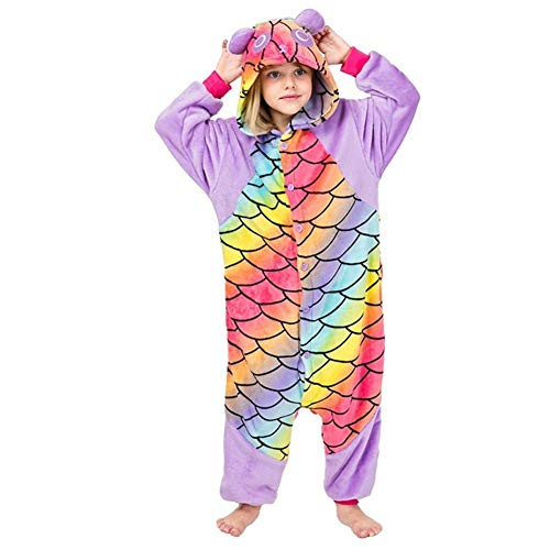 Kids Onesies Pyjama Unisex Visschaal Panda Pyjama Dier Nachtkleding Jumpsuit Zacht Warm Flanel Kind Hooded Homewear…