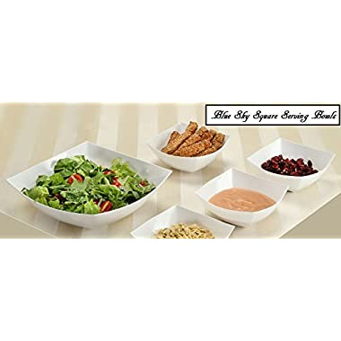 Blue Sky, Square Unbreakable White Plastic Serving Bowls, 64 Ounce, Set of 5, Party Snack or Salad Bowl.