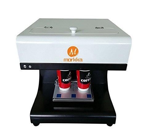 Morkka 3D Coffee Printer, 2017 Upgrade 2 Cups Latte Cake Selfie Art Printer Full Automatic Edible Ink Printer (White)