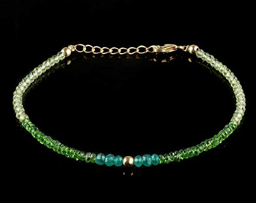 - Natural Peridot/Chrome Diopside and Green Onyx Stone Beaded Bracelet | Gemstone Crystal Beads Bracelet Jewelry | 14K Gold Fill Boho Bracelet