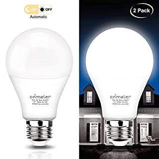 Dusk to Dawn Light Bulb Sensor LED Light Bulbs 9W E26 Automatic On/Off Smart Light Bulb Outdoor Lighting for Yard Patio Porch Garage Garden (Daylight White, 2 Pack)