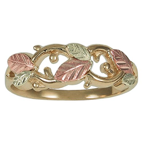 (Cut-Out Leaf Band, 10k Yellow Gold, 12k Green and Rose Gold Black Hills Gold Motif, Size 7 )