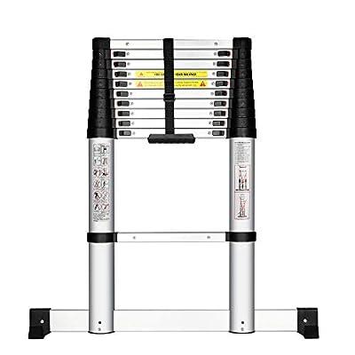 YouHeng Telescopic Ladder with Stabiliser Bar Slow Down Design Telescoping Ladder Prevent Pinch Fingers EN131 Certified Multi-Purpose Ladder with Intelligent Locking Mechanism