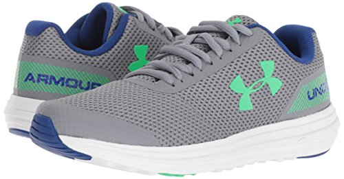 Under Armour Boys' Grade School Surge RN Sneaker, Steel (102)/White 4.5 by Under Armour (Image #5)