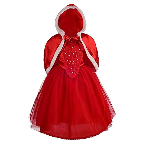 Girls' Disney Princess Cinderella Dress up Halloween Party Costumes (Red, -