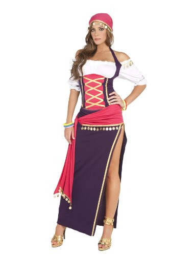 (Sexy Gypsy Maiden Costume, Purple/White,)