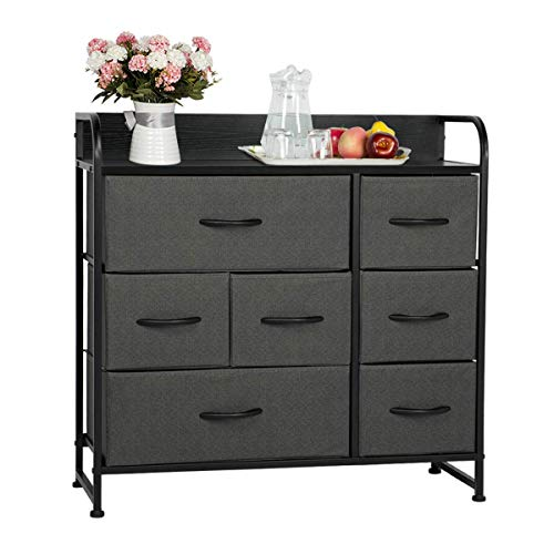 AVAWING 7 Drawer Dresser Organizer Fabric Storage Tower & Chest for Bedroom, Hallway, Closet, Entryway, Furniture Organizer Unit with Steel Frame, Wood Top and Easy Pull Black Wooden Handle (Grey)