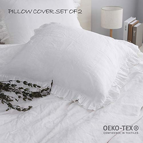 Simple&Opulence 100% Linen Stone Washed Euro Sham with Ruffle 26x26 Inch Pillow Cover Set of 2 (White, 26