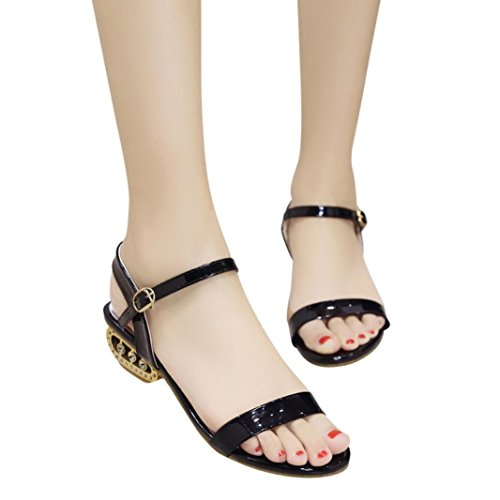 HLHN Women Sandals, Ankle Buckle Strap Block Heel Mid Heel Open Toe Shoes Casual Party Lady Black