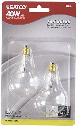 Satco S2740 120V Candelabra Base 40-Watt A15 Light Bulb, Clear (Bulb A15)