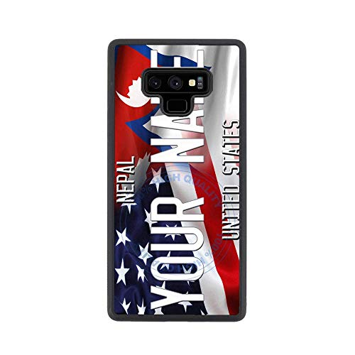 BRGiftShop Personalize Your Own Mixed USA and Nepal Flag Rubber Phone Case For Samsung Galaxy Note 9