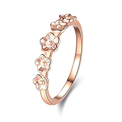 Winsopee Flower-Shaped Ring Exquisite Womens Silver Ring Diamond Band Rings Engagement Ring