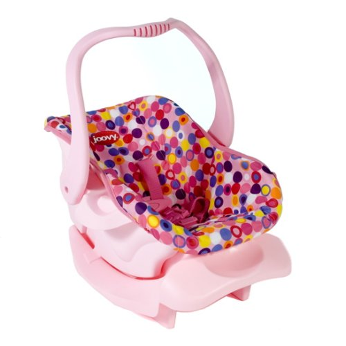 Joovy Toy Car Seat, Doll Accessory, Doll Furniture, Pink Dot ,21.5 x 13 x11.7