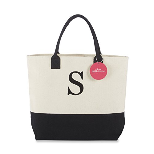 Kate Aspen, Monogram Tote Bag, Canvas, Classic Black and White, ()