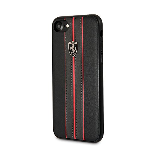 Ferrari Phone Cases iPhone 8 & iPhone 7 - By CG Mobile - Off Track Collection, Black PU Leather Hard Case with contrasting Red Stitching finishes, TPU Rubber Frame, and Easily Accessible Ports