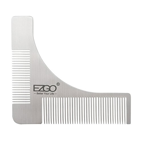 EZGO Stainless Steel Beard Styling and Shaping Template Comb Tool for Perfect Lines & Symmetry