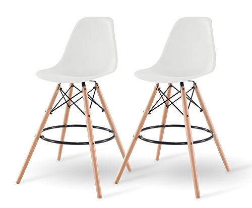 IRIS USA Mid-Century Modern Shell Barstool with Wood Eiffel Legs, 2 Pack, Cotton White - Set of 2 easily assembled barstools Plastic seats offer ergonomic shape and smooth finish; Wooden eiffel-style legs provide stability Great for use in kitchen, dining room, living room, or game room - kitchen-dining-room-furniture, kitchen-dining-room, kitchen-dining-room-chairs - 41LYQ6fjOCL -