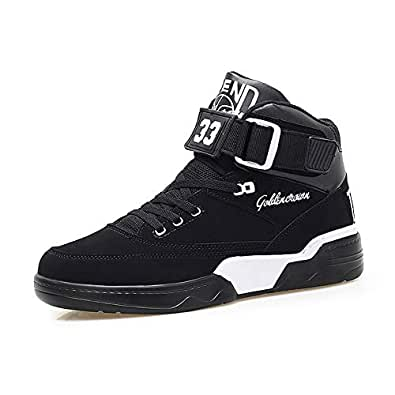 Hmulan Mens High-top Casual Shoes Fashion Sneakers Breathable Walking Men Shoes(All-Black,6)